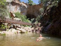 Tonto natural bridge park with easy hikes to waterfalls and grasshopper point in oak creek canyon.