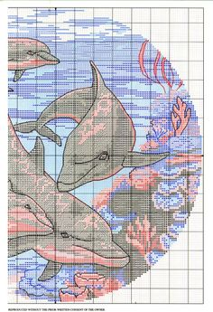 Dancing Dolphins - 2 of 5 Cross Stitch Needles, Cross Stitch Charts, Cross Stitch Patterns, Crewel Embroidery, Cross Stitch Embroidery, Embroidery Patterns, Intarsia Knitting, Square Patterns, Cross Stitch Animals