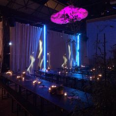 Set design by Soo Wilkinson of Igloo Design for immersive dining event 'Nightgarden' at Camp & Furnace in Liverpool. Set Design, Liverpool, Design Projects, Concert, Boss, Dining, Pretty, Stage Design, Food