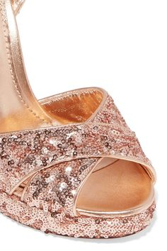 Dolce & Gabbana - Sequined Leather Sandals - Antique rose - IT37