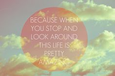 Because when you stop and look around this life is pretty amazing #quotes