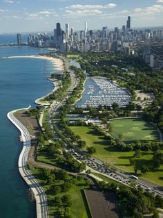 CHICAGO, IL :: Aerial View of the City, Lake Shore Drive, Lake Michigan, Chicago, Cook County, Illinois -  USA Photographic Print by Green Light Collection at AllPosters.com