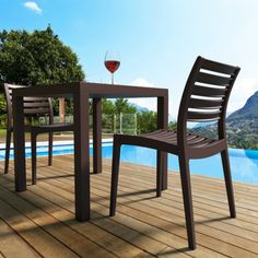 Compamia Ares Outdoor Dining Side Chair - Set of 2 - ISP009-BLA