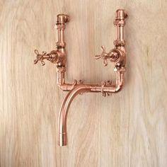 Bathroom Taps, Kitchen Taps, Bathroom Fixtures, Bathrooms, Small Bathroom, Bathroom Ideas, Copper Pipe Taps, Brass Tap, Copper Bathroom Accessories