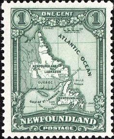 Newfoundland & Labrador Geographical Outline Postage Stamp