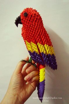 3D Origami Patterns | 3d origami scarlet macaw by Nga1012
