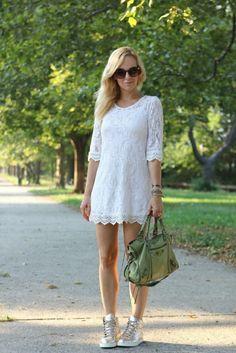 Little white dress, balenciaga bag, silver sneaker