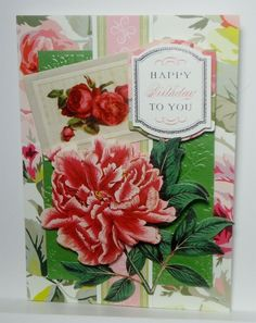 Birthday Floral Greeting Card Handmade Anna Griffin Inspired 356 #Handmade #BirthdayAdult