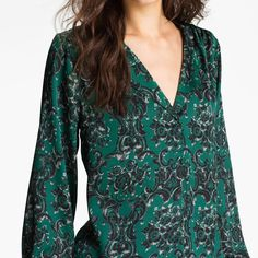 "Bellatrix Print Blouse in Green( Black/Charmeuse) A pleated neckline creates a faux placket that adds a bit of shape and structure to a sheer, floaty blouse. Approx. length from shoulder: 28 1/2"". Polyester; hand wash. By Bellatrix; . t.b.d. Color: black/ charmeuse damask. Feels like silk and looks very chic! Generous fit. Fits like S/M. Excellent/like new condition! Sold out. From Nordstrom. Bellatrix Tops Blouses"