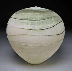 White Spiral by Nicholas Bernard: Ceramic Vessel available at www.artfulhome.com