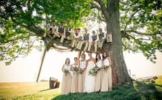 Groomsmen sitting in a tree above bridesmaids.  Copyright Photographics Solution 2013