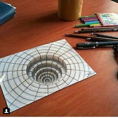 Photo shared by Art Explorer on May 2016 tagging 3d Pencil Drawings, 3d Art Drawing, Cool Drawings, Illusion Kunst, Illusion Drawings, 3d Illusion Art, Drawings Pinterest, Arte Sketchbook, 3d Painting