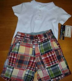 Boys GAP Plaid Patchwork Shorts & NWT White Polo Shirt 18 Month 4th of July $14.99