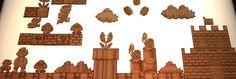 Super Mario, diorama en bambou pour le frigo