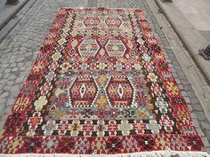 Vintage Turkish Kilim Rug Burgundy Red Kilim Rug by Sheepsroad, $1100.00