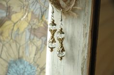 Quartz Crystal Faceted Oval Stones Antique Brass by MemesShoppe, $30.00