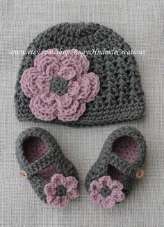 Crochet Baby Shoes And Hat Girls cross stitch <b>crochet hat</b> and <b>crochet baby shoe</b> set.dark ...