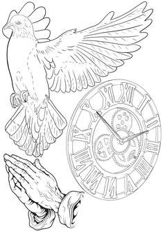 тату эскизы | VK Clock Tattoo Design, Tattoo Design Drawings, Tattoo Sketches, Tattoo Designs Men, Tattoo Outline Drawing, Rose Drawing Tattoo, Outline Drawings, Religious Tattoo Sleeves, Religious Tattoos