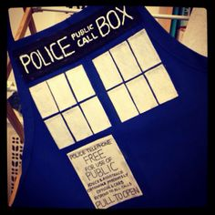 I made this Tardis apron for my Halloween costume. It's a little messy, but I think it came out pretty well overall.