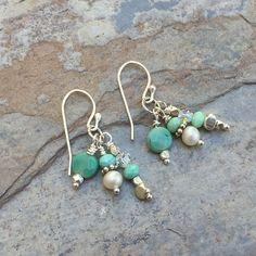 Green Moss Opal Cluster Earrings Light Blue Cluster Earrings