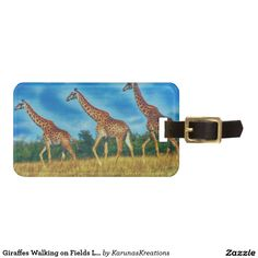 Giraffes Walking on Fields Luggage Tag