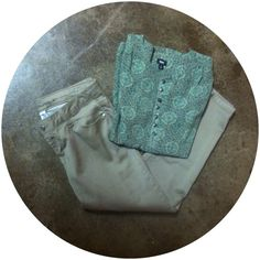 Gorgeous Brown/Green Top and Pants Bundle This hand picked bundle is absolutely perfect for upcoming autumn a winter! The top is a sheer brown, teal, and green shirt with buttons at the top. It is Mossimo and a size small but could fit a medium. The pants are skinny brown pants. They are a size 9 and their brand is Celebrity.Pink. These two pieces look great together. If needbe, I will separate the pieces. Take a look and make an offer! Mossimo Supply Co. Tops
