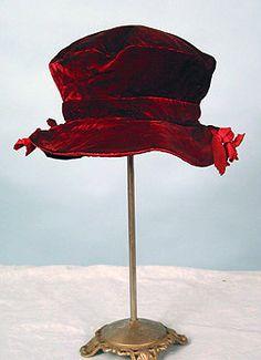 Antique red velvet hat. #Wide brim #Crimson #Scarlet #Bows #Ribbons #Old-fashioned