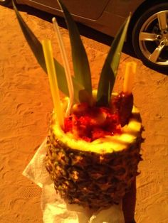 Pineapple chamoy with chile powder and lime...  Bayou Snow Cones Email us we will ship you the special ingedients to prepare the pineapples  Bayousnowcones@yahoo.com