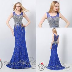 100% Real Pictures 2015 In Stock US4-US14 Scoop Sleeveless Lace Crystal Beaded Beautiful Long Evening Party Prom Dresses Online with $123.72/Piece on Weddingpalace's Store | DHgate.com