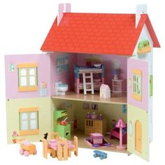 164.99 Measuring 13.78L x 24.02W x 26.38H inches the Le Toy Van Tutti-Frutti House with Furniture has a cheerful facade complete with a strawberry motif. The included deluxe furniture set