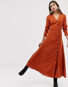 Y.A.S   Y.A.S large button front maxi dress in rust