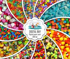 CANDY  Digital paper pack  Instant download  by DigitalBay on Etsy