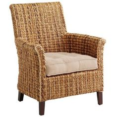 We're bananas for this armchair - seriously! Crafted of natural banana leaf woven over a solid wood frame, our unique Banana Armchair is as comfortable as it is stylish. With updated wing-back styling and gently rolled arms, it will fit right in with any Wicker Dining Room Chairs, Rattan Chair Cushions, Wicker Bedroom Furniture, White Wicker Chair, Wicker Armchair, Woven Chair, Outdoor Wicker Furniture, Upholstered Chairs, Cheap Furniture