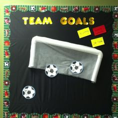 "On the first day of school we are going to talk about our classroom expectations. I plan to relate this discussion to soccer. Our ""goals"" are acts of positive behavior (for now I wrote our school-wide expectations until the students can write more specific examples). ""Yellow card"" behavior would prompt a warning, and ""red card"" behavior would be sent to the office."