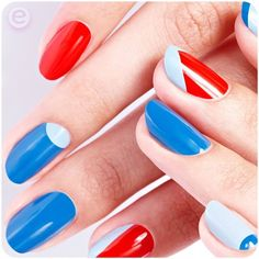 hi beauties, for this triple-color nail art design, we chose the colour&gos 158 if i were a boy (light blue), 129 the boy next door (sky blue) and 115 redvolution (red). which nail polish colors do you like combine to create unique styles? take a look here for all essence nail polishes at a glance: http://colour-and-go.essence.eu/en/product.html