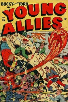 Young Allies Comics # 16 by Alex Schomburg War Comics, Marvel Comics, Vintage Comics, Vintage Books, Comic Book Covers, Comic Books, The Legend Of Hercules, Pulp Fiction Comics, Captain America Comic