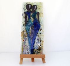 Fused glass painting  colorful African images tile by virtulyglass, $80.00