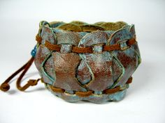 BOHO Leather Cuff Bracelet Turquoise Blue Wristband Wrap Brown Western Cowgirl Hippie. $34.00, via Etsy.
