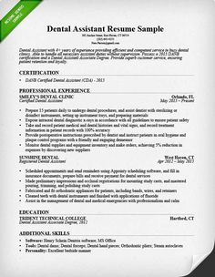 Dental Assistant Resume Template Great Resume Templates
