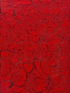 Ed Moses' Red over Black, 2012, mixed media on canvas, 48 x 36 inches
