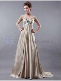 A-line Spaghetti Straps Embroidery Satin Floor-length Wedding Dress