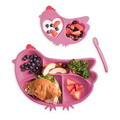 Kids Plates,3 Divided Baby School Children Dish Tray Cutlery Utensils with Spoon and Fork,BPA Free Durable Suitble for Home and School Toddlers Pink