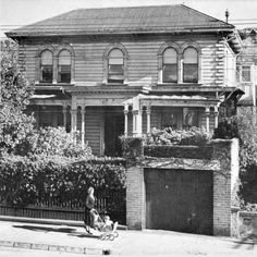 Exterior view of the obstetric hospital at 278 Willis Street, Wellington, A woman pushes a pram in the foreground. The Hutt, British Isles, Old Pictures, New Zealand, Past, Street, Painting, Book, Antique Photos