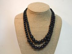 Black Beaded Necklace / Black Necklace / Black by BevinBold