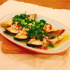 Steam seabass Thai style- garlic, lime and lemongrass