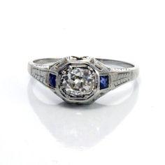 18K Antique Art Deco Filigree Diamond Sapphire Engagement Ring #SolitairewithAccents