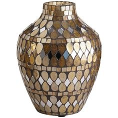 Golden Mosaic Vases ❤ liked on Polyvore featuring home, home decor, vases, mosaic home decor, handmade home decor and mosaic vase