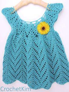 CrochetKim Free Crochet Pattern | Tulip Chevrons Baby Dress @crochetkim ~~ www.pinterest.com/pmidesigns1