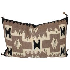 Navajo Two Grey Hills Indian Weaving Pillow | From a unique collection of antique and modern native american objects at https://www.1stdibs.com/furniture/folk-art/native-american-objects/