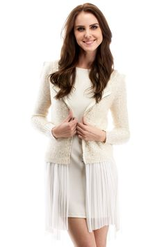 Ivory Sequin Zip Cardigan - This actually looks like something I could make - buy a short pleated shear skirt - add a zipper to a sweater and sew on the shear skirt to the bottom of the sweater!
